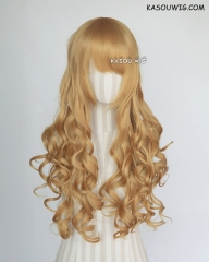 L-1 / KA013 light golden 75cm long curly wig . Hiperlon fiber