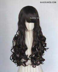 L-1 / KA031 Natural Black 75cm long curly wig . Hiperlon fiber