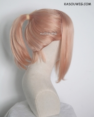 S-3 / SP20 peach pink ponytail base wig with long bangs.