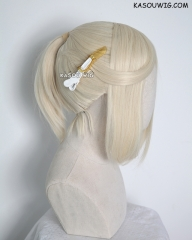 S-3 / SP17 light cream blonde ponytail base wig with long bangs.