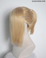 S-3 / KA011 Honey Butter blonde ponytail base wig with long bangs.