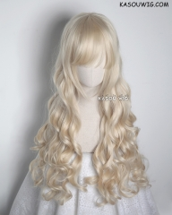 L-1 / KA006 light blonde 75cm long curly wig . Hiperlon fiber
