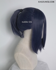 S-3 / SP03 deep blue ponytail base wig with long bangs.