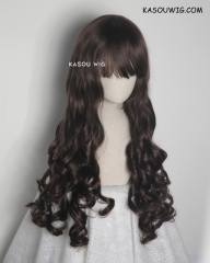 L-1 / KA030 deep brown 75cm long curly wig . Hiperlon fiber
