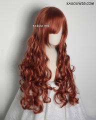 L-1 / SP06 Auburn brown 75cm long curly wig . Hiperlon fiber