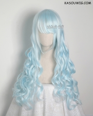 L-1 / KA045 Light Cyan 75cm long curly wig . Hiperlon fiber