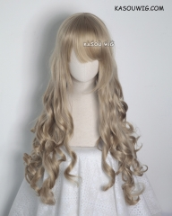 L-1 / KA016 tanned blonde 75cm long curly wig . Hiperlon fiber
