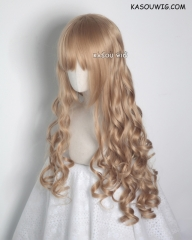 L-1 / KA017 dark natural blonde  75cm long curly wig . Hiperlon fiber