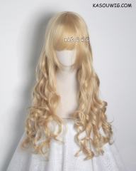 L-1 / KA011 Honey Butter blonde 75cm long curly wig . Hiperlon fiber