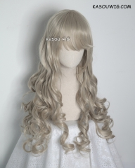 L-1 / SP02 sand blonde 75cm long curly wig .Tangle Resistant fiber