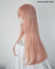 L-2 / SP22 coral pink 75cm long straight wig . Tangle Resistant fiber