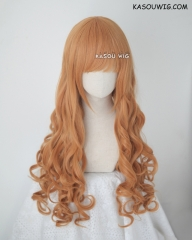 L-1 / SP19 pastel orange 75cm long curly wig . Tangle Resistant fiber