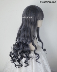 L-1 / SP29 bluish gray 75cm long curly wig . Tangle Resistant fiber