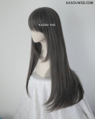 L-2 / SP09 dark gray  75cm long straight wig . Tangle Resistant fiber