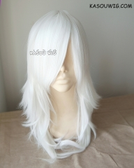 Lamento Rai 60cm long smooth white layered cosplay wig with long bangs