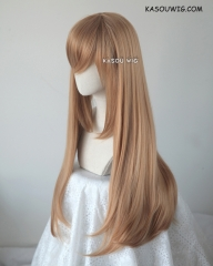 L-2 / KA023 caramel 75cm long straight wig . Tangle Resistant fiber