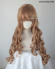 L-1 / KA023 caramel 75cm long curly wig . Tangle Resistant fiber