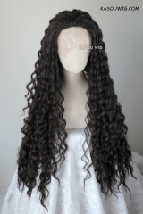 Lace Front>>> Disney Moana brown black curly long cosplay wig
