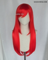 L-2 / KA039 bright red 75cm long straight wig . Heating Resistant fiber