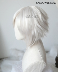 D. Gray-man Allen Walker short pearl white side parted cosplay wig . SP05