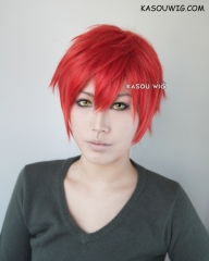 "S-1 / KA040 Mystic Messenger 707 Seven 31cm / 12.2""  short vermillion red layered wig easy to style,Hiperlon fiber"
