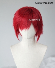 "S-1 / SP28 >>31cm / 12.2""  short crimson red layered wig, easy to style,Hiperlon fiber"