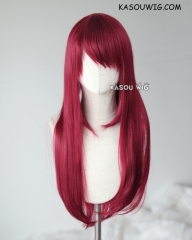 L-2 / KA043 Carmine red 75cm long straight wig . Heating Resistant fiber