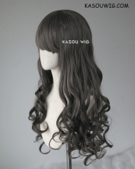 L-1 / SP09 dark gray 75cm long curly wig . Tangle Resistant fiber