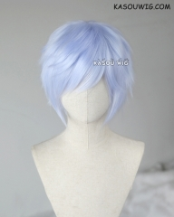"S-1/KA054  >>31cm / 12.2"" short light periwinkle layered wig, easy to style,Hiperlon fiber"