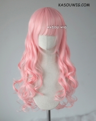 L-1 / SP12 pastel pink 75cm long curly wig . Tangle Resistant fiber