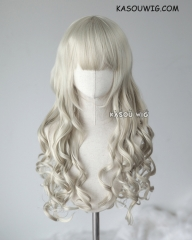 L-1 / SP27 light ash blonde 75cm long curly wig . Hiperlon fiber