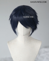 "S-1 / SP10  >>31cm / 12.2""  short  dark blue layered wig, easy to style,Hiperlon fiber"