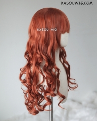 L-1 / KA022 Copper Penny  75cm long curly wig . Hiperlon fiber