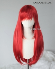 L-2 / KA042 apple red  75cm long straight wig . Heating Resistant fiber
