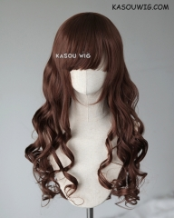 L-1 / KA027 Coffee Brown 75cm long curly wig . Hiperlon fiber