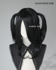 "M-2 / KA032 ┇ 50CM / 19.7"" jet black  pigtails base wig with long bangs."