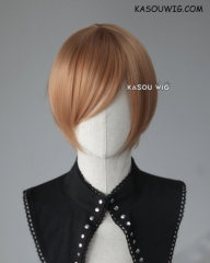 S-2 / KA023 caramel smooth cosplay wig with long bangs . Hiperlon fiber