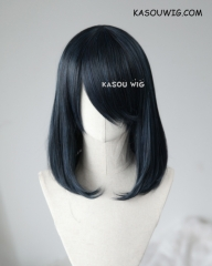 M-1/ KA052 black blue bob cosplay wig. shouder length lolita wig suitable for daily use