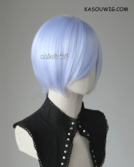 S-2 / KA054  light periwinkle smooth cosplay wig with long bangs . Hiperlon fiber