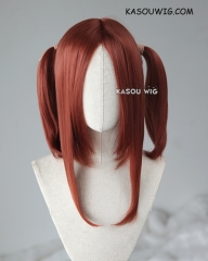 "M-2 / KA044 ┇ 50CM / 19.7"" Burnt umber red pigtails base wig with long bangs."