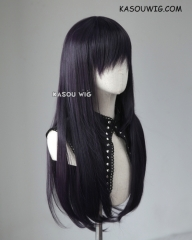 L-2 / SP31 deep purple 75cm long straight wig . Heating Resistant fiber