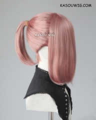 S-3 / KA037 dusty pink ponytail base wig with long bangs.