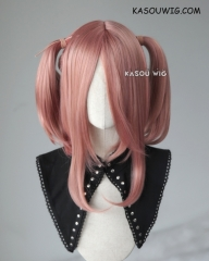 "M-2 / KA037 ┇ 50CM / 19.7"" dusty pink pigtails base wig with long bangs."