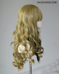 L-1 / SP21 green yellow mixed 75cm long straight wig . Heating Resistant fiber