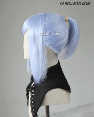S-3 / KA054 light periwinkle ponytail base wig with long bangs.