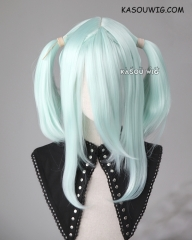 "M-2/ SP16 ┇ 50CM / 19.7""  pastel mint green pigtails base wig with long bangs."