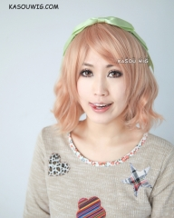 S-4 / SP20 peach pink loose beach waves lolita . harajuku wig with bangs .35cm .