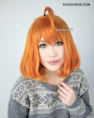 RWBY Penny Polendina short orange curly bob wig with ahoge ( large skin top)