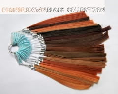 Orange, Brwon, Black color samples