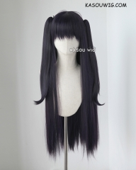 "90cm / 35.5"" Fire Emblem Awakening Tharja deep purple long straight wig with 2 ponytails .SP31"